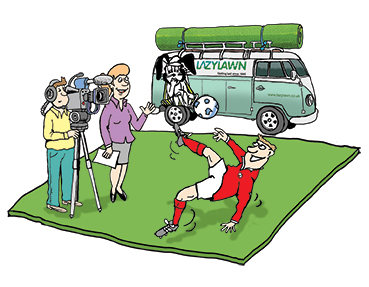 football cartoon with footballer doing overhead scissor kick on a piece of artificial lawn, camera crew filming him, VW caravette in the background with roll of artificial lawn on a roof rack