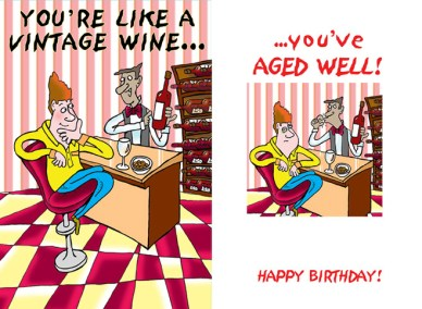 drinking birthday card design - guy sat on stool at bar being served by waiter holding bottle of expensive wine
