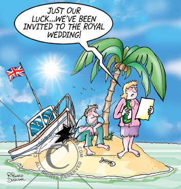 cartoon of couple marooned on a small desert island, their boat is wrecked she is reading a message in a bottle.
