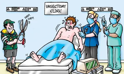 vasectomy clinic cartoon, boy scout holding hedge clippers, scared patient would rather have a qualified surgeon to do his vasectomy and not a boy scout.