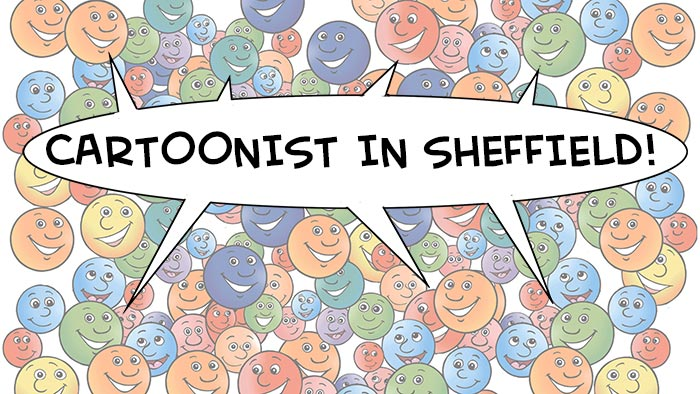 cartoonist in Sheffield, cartoon of lots of faces all smiling because they are from Sheffield