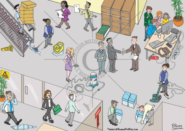 office health and safety cartoon, hazard hunter cartoon with guy carrying too much down a set of stairs, wet floor sign hidden under stair case, cleaner has left pools of water while mopping, guy not looking where he is going about to trip over filing cabinet drawer, overloaded socket, cleaner with frayed wires on vacuum, incorrect lighting, correct lifting, fire extinguisher stand has missing extinguisher, extinguisher under desk, hoover cables are a trip hazard, worker listening to music on headphones not looking where she is going, caution glass sign is hidden by office plant, guy on cellphone/mobile phone about to step on slip hazard, guy walking into glass panel, female worker in very high heels.