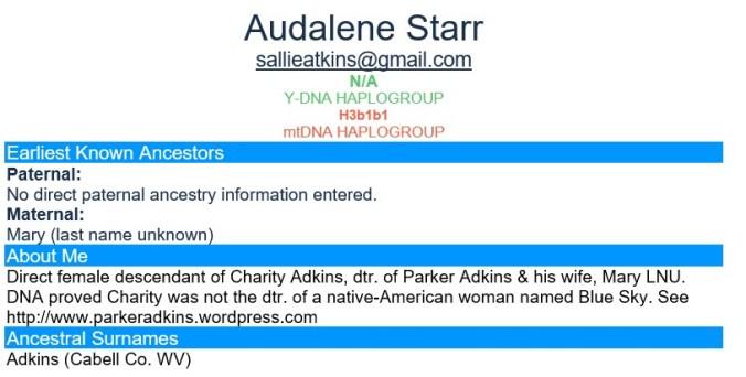 FTDNA AUDALENE STAR