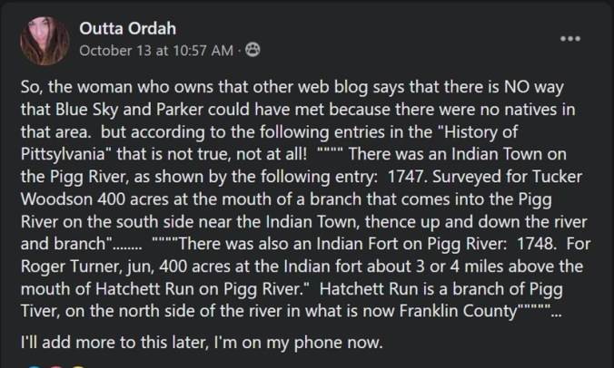LINDA RIDEOUT COMMENT RE INDIANS ON PIGG RIVER