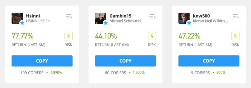 Screenshot of traders on eToro and their returns