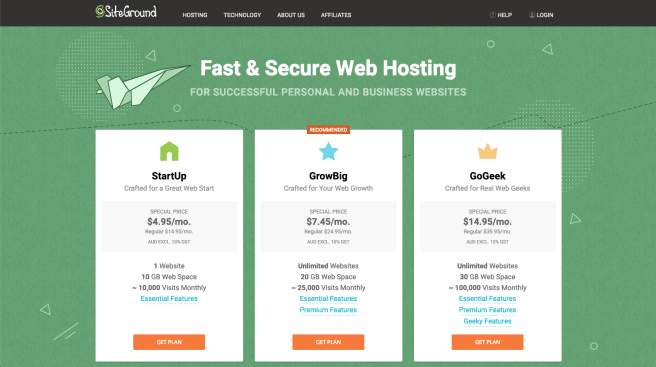 Signup prices for Siteground