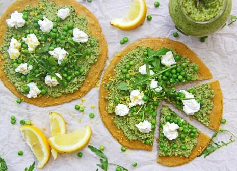 Chickpea flour gluten free flatbreads with broccoli pesto, ricotta, peas, rocket and lemon 5