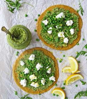 Chickpea flour gluten free flatbreads with broccoli pesto, ricotta, peas, rocket and lemon