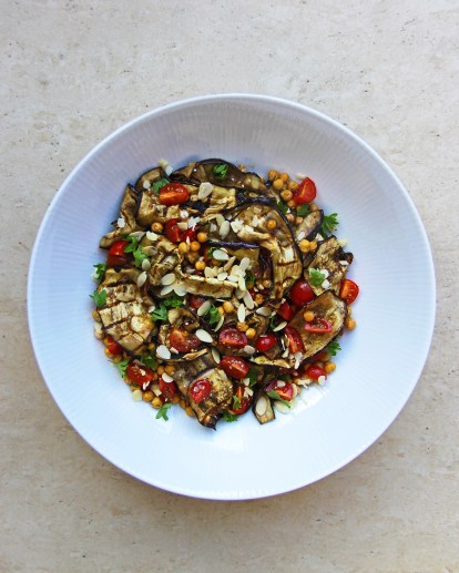 roasted-chickpea-aubergine-and-tomato-salad-with-zaatar-and-pomegranate-molasses-vegan