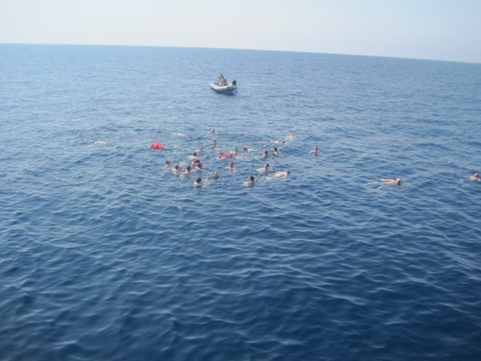 Jumping overboard for Swim Call off the Coast of Yemen 10