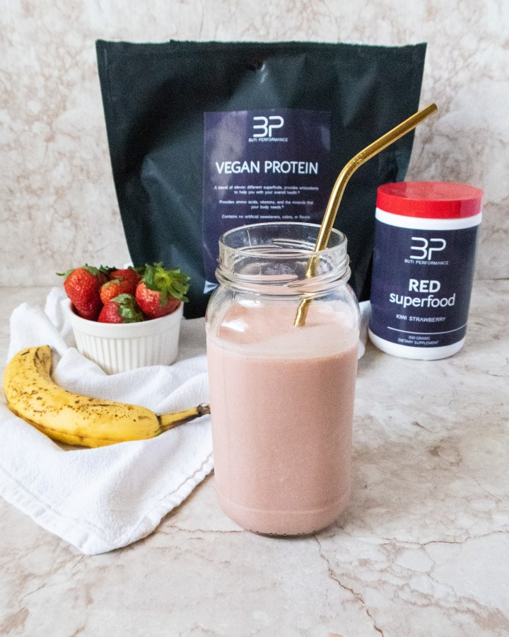 vegan protein, red superfoods, strawberries, bananas, superfood protein smoothie recipe. Buti performance supplements