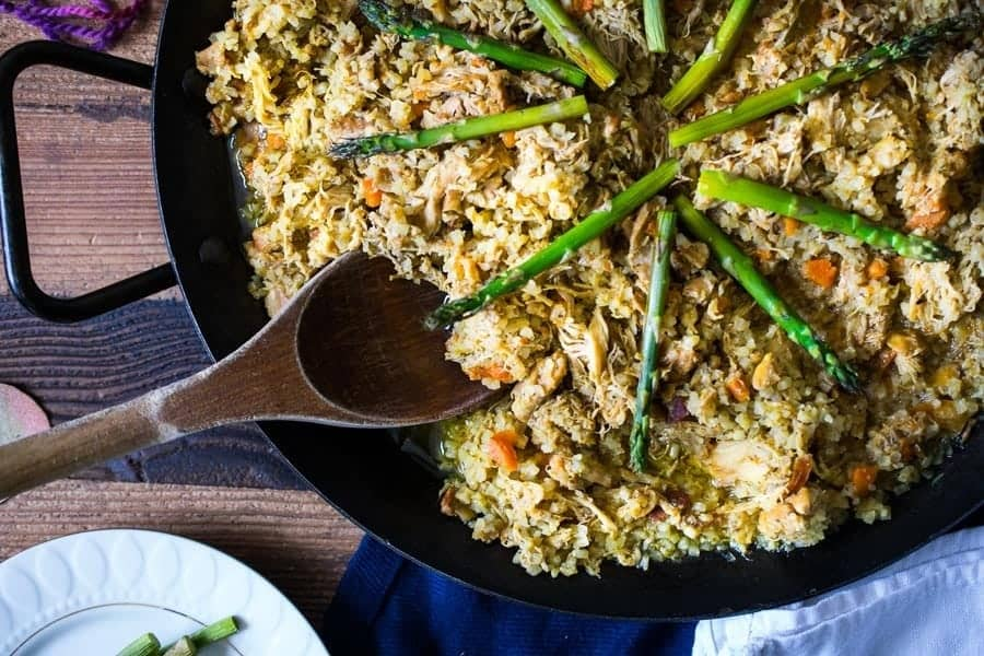 skillet with rice and asparagus
