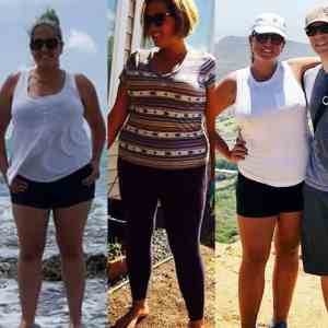 side by side comparisons of a woman's weight loss