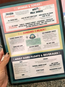 Beaches & Cream Menu 2