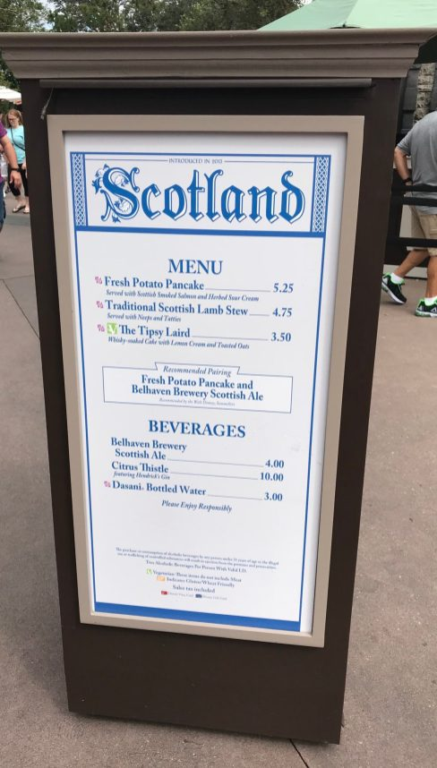 Epcot Food and Wine Scotland Menu