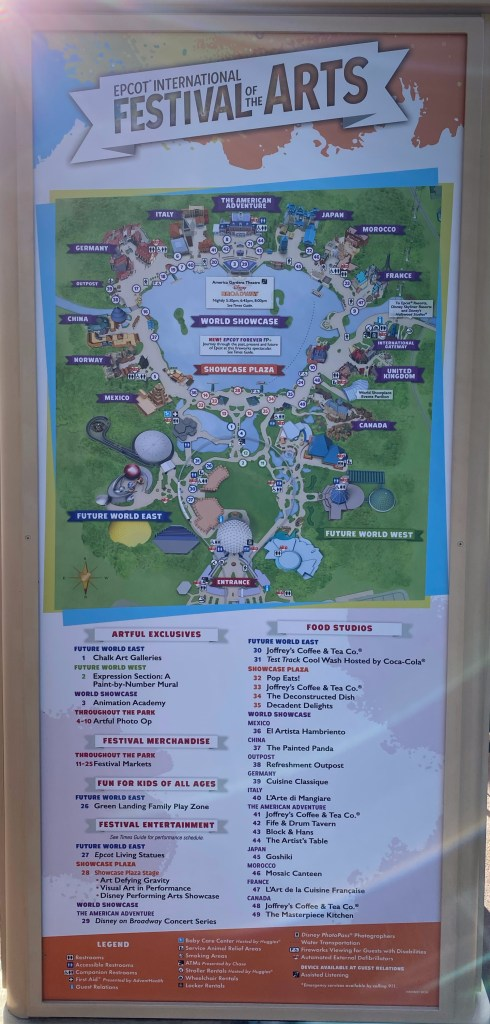 Artful Epcot 2020 Map Schedules And Complete Menu Boards Epcot International Festival Of The Arts The Castle Run