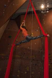 Ashley Johnson suspends herself in midair. Photo by Sam Zarky