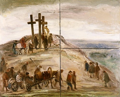 "Peasants make their way up to Calvary in Anatolii Slepyshev's ""The Procession,"" a four-panel painting from the Moscow underground art scene.  The Museum of Russian Art in south Minneapolis hosts 70 works in the exhibit ""Concerning the Spiritual in Russian Art: 1965-2011"" that runs through June 9. Images from the Kolodzei Art Foundation courtesy The Museum of Russian Art, Minneapolis"