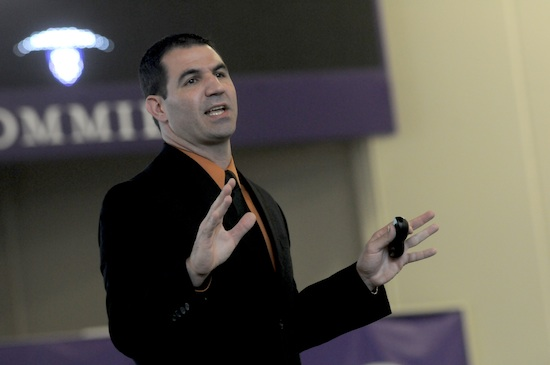 University of St. Thomas football coach Glenn Caruso spoke about the influence of the men in his life, and the importance of family.