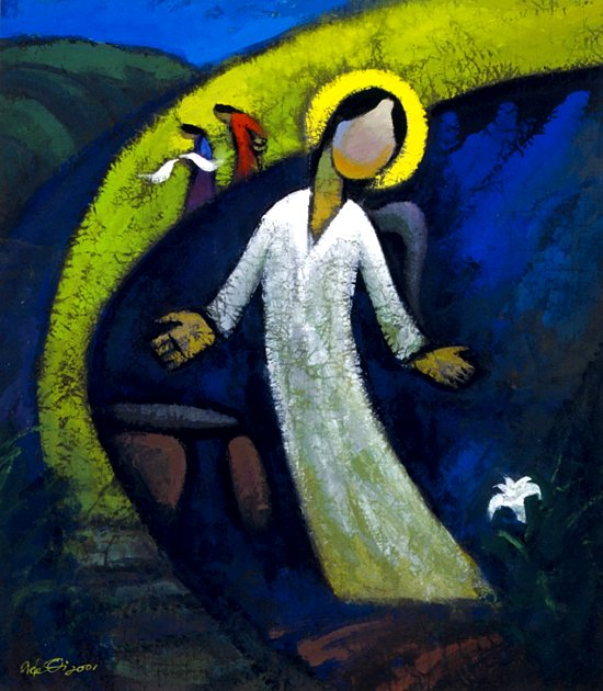 "An angel appears at the empty tomb of Christ on Easter morning in  ""He Is Not Here,"" a painting by contemporary Chinese Christian artist He Qi. Easter, the  feast of the Resurrection,  is March 31. CNS photo courtesy of He Qi"