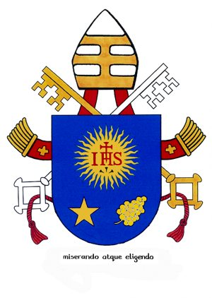 "The coat of arms of Pope Francis borrows much from  his former episcopal emblem. On the blue shield is the symbol of the Society of Jesus. Below it is a five-pointed star and the buds of a spikenard flower, which represent respectively Mary and St. Joseph. The papal motto is the Latin phrase ""Miserando atque eligendo,"" which means ""because he saw him through the eyes of mercy and chose him"" or more simply, ""having mercy, he called him."" The phrase comes from a homily by St. Bede. CNS"