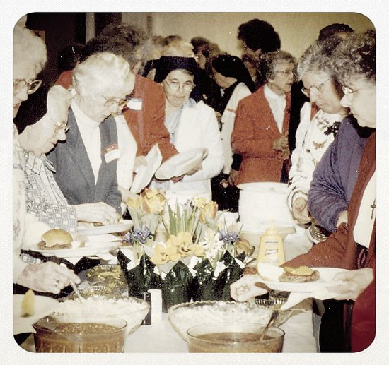Sisters attending the Nun's Appreciation Day enjoy a buffet-style meal in this photo from 1997.  Photo courtesy of Linus Ulfig