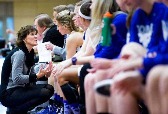 Head Coach Ruth Sinn talks to her players on the sideline during a MIAC basketball game against Augsburg College on January 5, 2013, at Schoenecker Arena in the Anderson Athletic and Recreation Complex. St. Thomas won the game 78-55. Photo courtesy of the University of St. Thomas