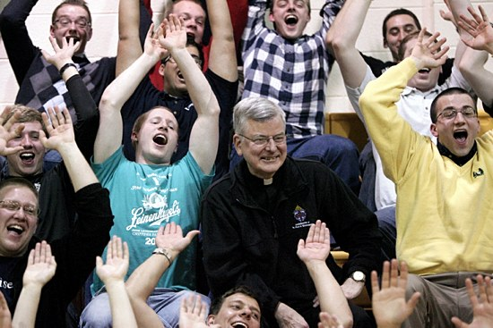 Archbishop John Nienstedt joined the cheering SJV fans at the tournament. (Dave Hrbacek/The Catholic Spirit)