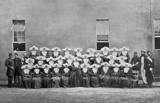 Members of the Daughters of Charity, who served as nurses, pose in an undated photo with Civil War soldiers outside Satterlee Hospital, a military hospital in West Philadelphia. CNS photo/courtesy Philadelphia Archdiocesan Historical Research Center