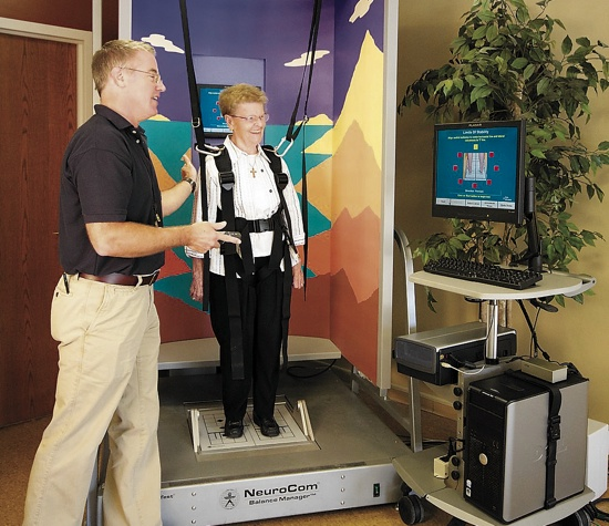 Saint Therese Rehab offers the Better Balance for a Better Life program that aims at to prevent falls through education, exercise programming and treatment. STR uses the NeuroCom SMART Equitest Balance system, above, to develop treatment plans for balance-related issues. Photo submitted