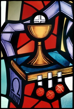 WINDOW DEPICTS PRIEST'S STOLE AROUND EUCHARIST, CHALICE