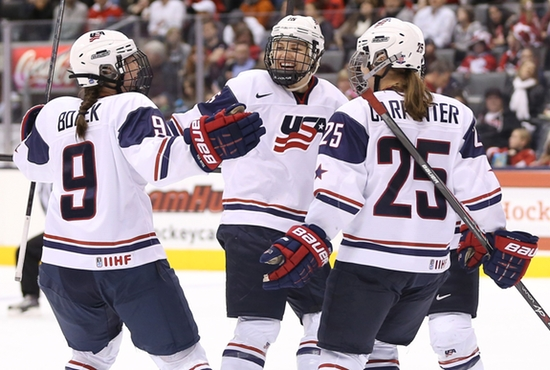 Anne Schleper, center, celebrates with teammates after a goal in an exhibition hockey game in late December 2013 at Air Canada Center in Toronto. CNS photo/Tom Szczerbowski, USA TODAY Sports via Reuters