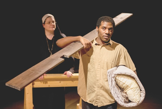"Homer Smith, played by Lamar Jefferson, and Mother Maria Marthe, played by Gail Ottmar, in a scene from Open Window Theatre's production of ""Lilies of the Field.""  Photo courtesy of Open Window Theatre"