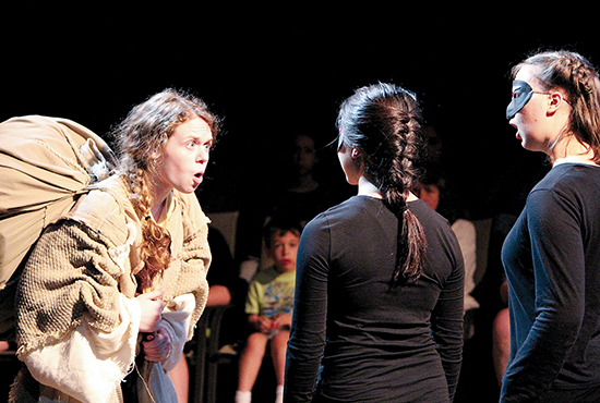 "Youth participating in E-Rhapsody Catholic Youth Theatre perform a scene from the play, ""Pilgrim's Progress"" at Open Window Theatre in Minneapolis earlier this summer. The program, now in its ninth year and directed by Jeremy Stanbary, helps youth learn acting and theater skills in a faith-based environment. Photo courtesy of Jeremy Stanbary"