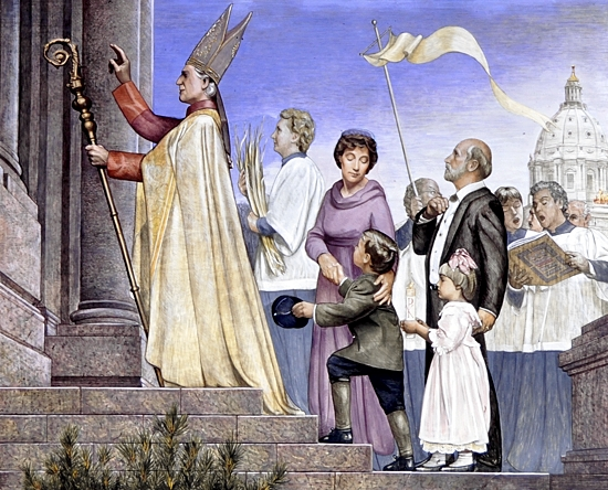 A fresco by Mark Balma in the Cathedral of St. Paul's south transept depicts Archbishop John Ireland at the cathedral's first Mass. Courtesy Mark Balma