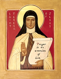 An icon of St. Teresa of Avila painted by Carmelite Brother Christopher Burnside. The Carmelite Hermits sell a variety of icons, wood carvings, books and more in their gift shop, open from 9:30-11:30 a.m. Monday through Saturday. Photo courtesy the Carmelite Hermits