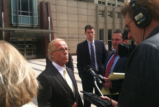 St. Paul attorney Jeff Anderson speaks to media outside the U.S. Courthouse in Minneapolis April 16 following a hearing that set Aug. 3 as the filling deadline for claims against the Archdiocese of St. Paul and Minneapolis. Anderson represents a number of claimants alleging sexual abuse by members of the clergy. Maria Wiering/The Catholic Spirit