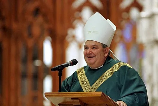 Coadjutor Archbishop Bernard Hebda of Newark, New Jersey, smiles Nov. 5, 2013, as he addresses the congregation at the end of his Mass of welcome at the Cathedral Basilica of the Sacred Heart in Newark. Pope Francis has named Bishop Hebda apostolic administrator of the Archdiocese of St. Paul and Minneapolis June 15. CNS