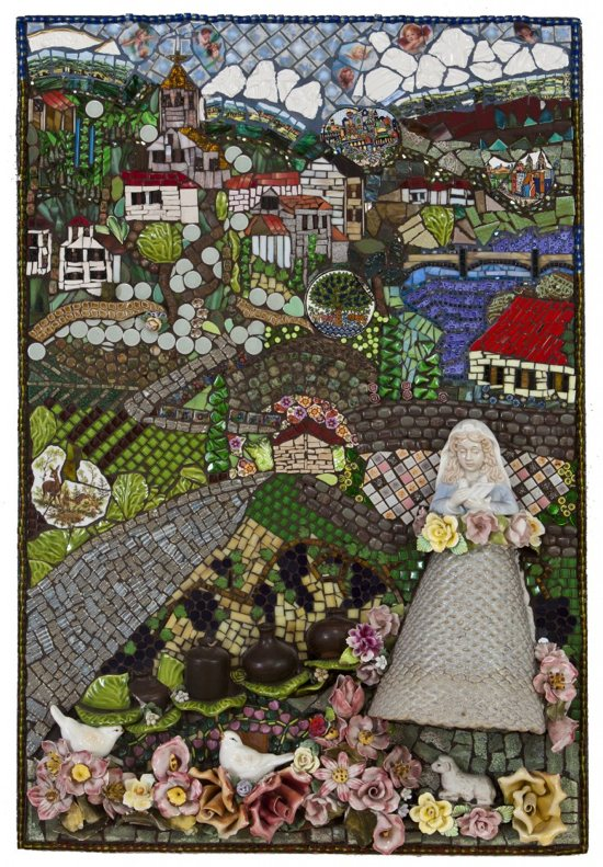 """Solace"" is one of the works in an exhibit of the art of Kathy Mellin Grubbs, ""Mary in Mosaics,"" running through July 12 in a gallery in the lower level of the Basilica of St. Mary in Minneapolis. The basilica is hosting an artist's talk and reception at 6 p.m. Thursday, June 18. Grubbs, a basilica parishioner, is trained in both classic and contemporary mosaics. In addition to the classic use of carefully broken stone and fine poured Italian glass known as Smalti, she also utilizes porcelain, stained glass, ceramic, stone, fossils, handmade tile, beads, and found and reclaimed objects in the formation of her work. Photo by Sarah Whiting"