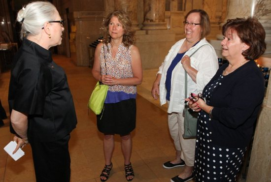 From left, Jill Reilly of the archdiocesan Office of Catholic Schools talks with Catholic school principals Sue Kerr of Carondelet Catholic School in Minneapolis, Jane Schmidt of Highland Catholic School and Mary Kay Rowan of St. John's School of Little Canada before Mass June 24 at the Cathedral of St. Paul. Dave Hrbacek/The Catholic Spirit