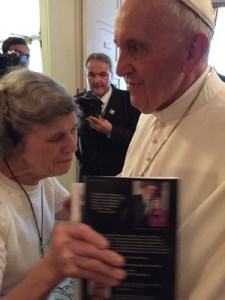 "Pope Francis and Mary Jo Copeland met during a private audience Sept. 24, along with Bishop Andrew Cozzens, who supplied this photo. Copeland gave him a copy of her biography, ""Great Love: The Mary Jo Copeland Story."""
