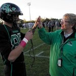Sister and her 'football rosary'  patrol the gridiron at Hill-Murray