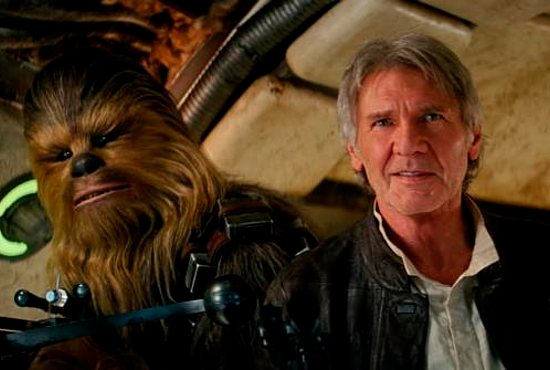 "Chewbacca, played by Peter Mayhew, and Harrison Ford star in a scene from the movie ""Star Wars: The Force Awakens."" The Catholic News Service classification is A-II -- adults and adolescents. The Motion Picture Association of America rating is PG-13 -- parents strongly cautioned. Some material may be inappropriate for children under 13. CNS photo/Disney"