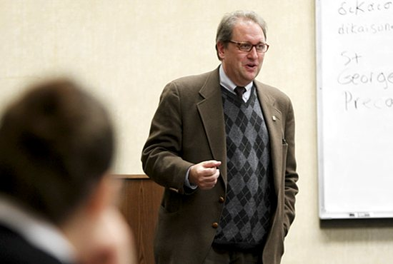 Dale Ahlquist teaches a theology class at Chesterton Academy in St. Louis Park. Dave Hrbacek/The Catholic Spirit