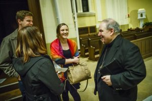 Archbishop with students