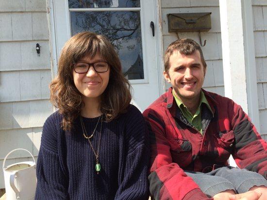 Minneapolis Catholic Workers Erica Sherwood and Joe Kruse outside the Rye House. Maria Wiering/The Catholic Spirit
