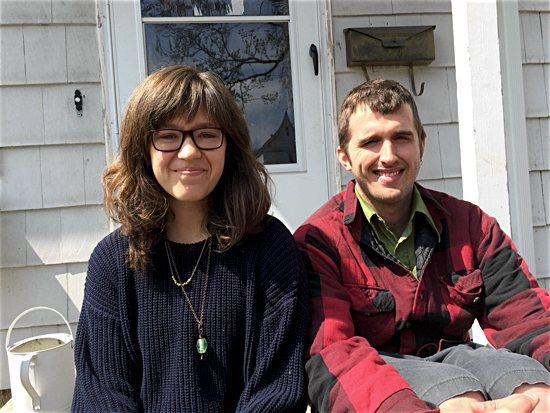 Minneapolis Catholic Workers Erica Sherwood and Joe Kruse outside the Rye House.  Maria Wiering/ The Catholic Spirit