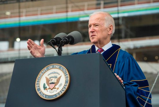 U.S. Vice President Joe Biden delivers an address after receiving the Laetare Medal during the 2016 commencement ceremony May 15 at Notre Dame Stadium in Indiana. CNS photo/Barbara Johnston, University of Notre Dame