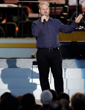 Stand-up comedian Jim Gaffigan is seen in this Sept. 26, 2015, file photo in Philadelphia. The comedian and his wife and writing partner, Jeannie, offered witty banter and some sage advice to more than 1,700 graduates of the class of 2016 during The Catholic University of America's 127th annual commencement May 14. CNS photo/Matt Rourke, EPA via AP pool