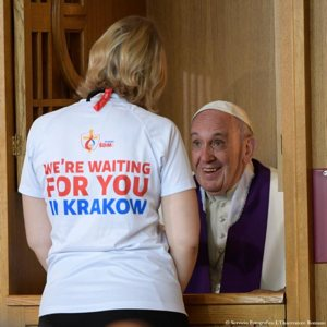 Pope Francis hears a confession as he visits the Divine Mercy Shrine in Lagiewniki, a suburb of Krakow, Poland, July 30. CNS photo/L'Osservatore Romano, handout